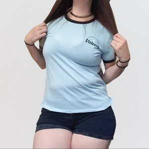 Volcom NWT True to this Ring it in Blue Tee S